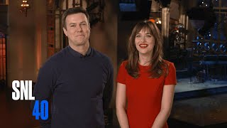 SNL Host Dakota Johnson and Taran Killam Beg Her Mom To Watch Fifty Shades of Grey