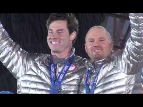 Steven Holcomb & Steve Langton - Rare footage of Medal Ceremony Sochi Olympics