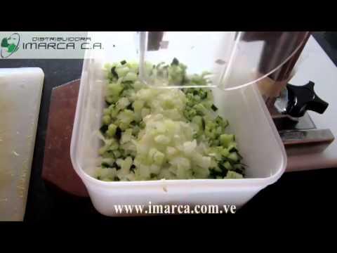 IMARCA Cubicadora manual de vegetales con cebolla y papas crudas