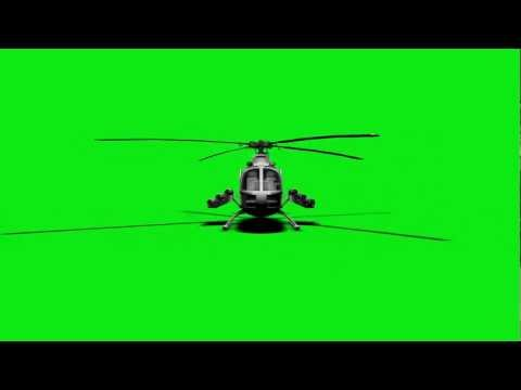 FREE GREEN SCREEN - helicopter shooting missiles! HD