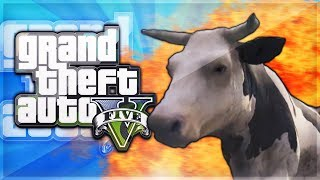 GTA 5 Online Funtage - MADNESS! (Cow, Tank Launch Glitch, Combat Race, Pure Chaos)