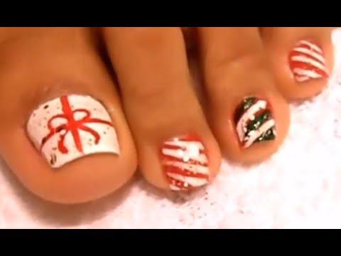 Mẫu nail móng chân giáng sinh dể làm nhất