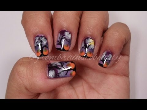 Halloween Nail Tutorial | Midnight Pumpkin Patch Nail Design - YouTube
