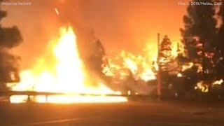 Woman captures dramatic video driving through flames while fleeing Woolsey Fire in Malibu | ABC7