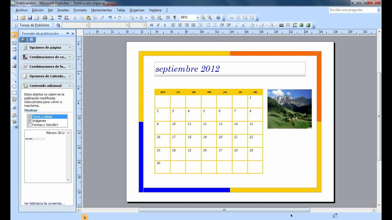 Tutorial para crear un calendario en publisher youtube - Ideas para hacer un calendario ...