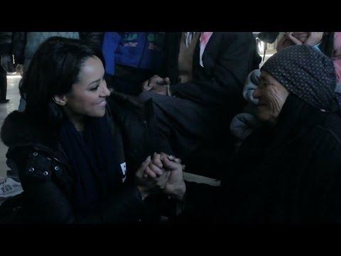 Kat Graham visits Syrian refugee families