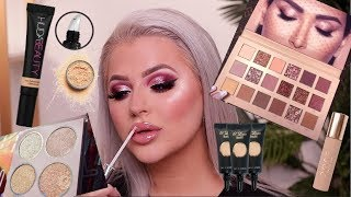 TRYING NEW MAKEUP   NEW HUDA BEAUTY NUDE PALETTE