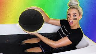 DIY GIANT BLACK BATH BOMB! How To Make THE WORLDS BIGGEST BLACK BATH BOMB