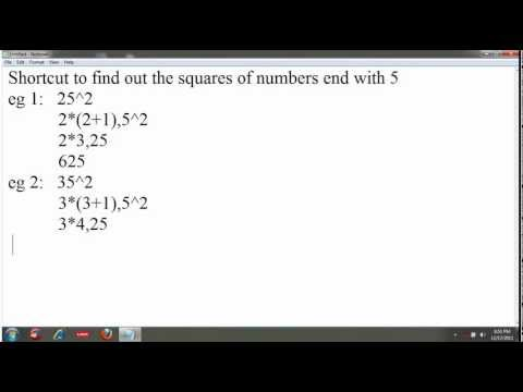 Quantitative Aptitude Shortcut Methods. Find the square of a number end with five