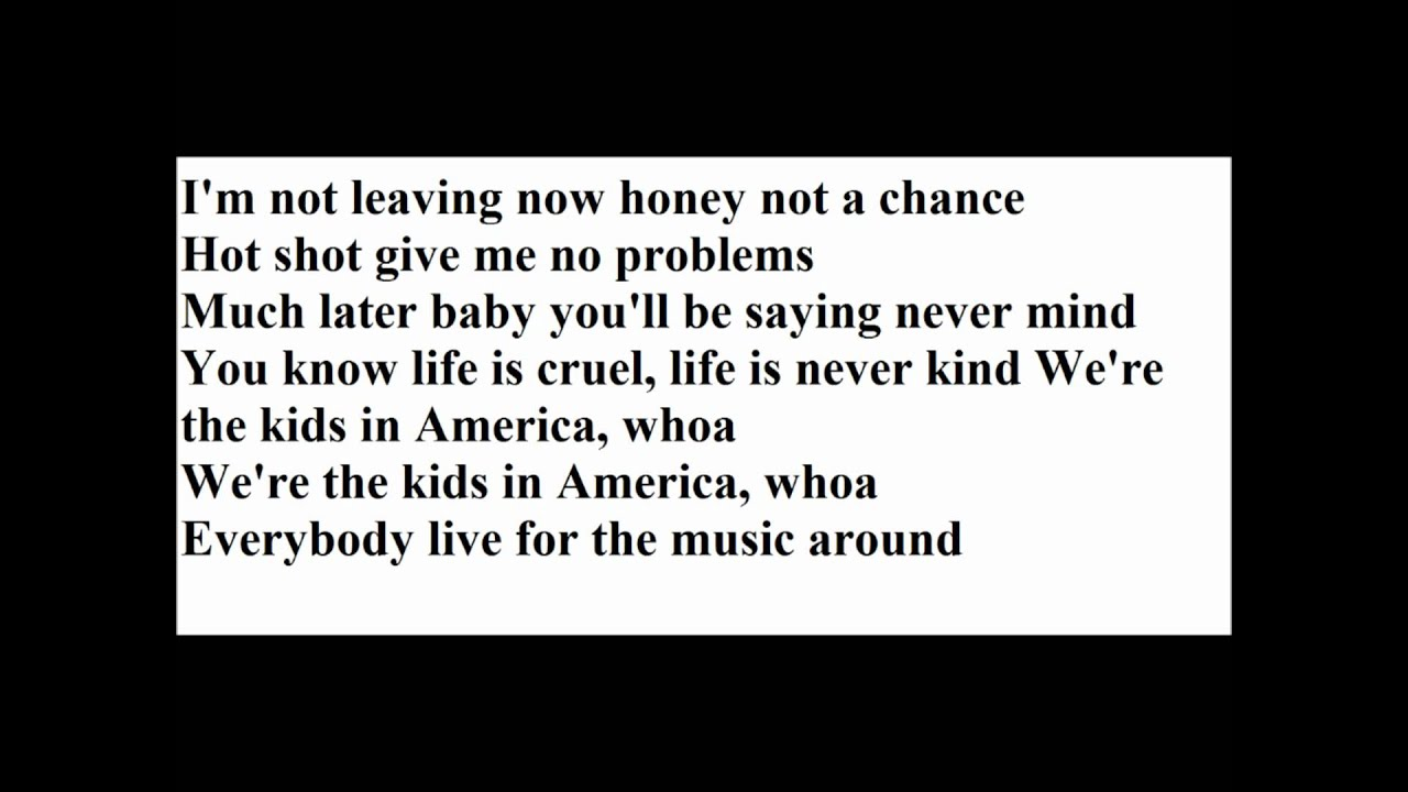 Kim Wilde - Kids In America Lyrics | MetroLyrics