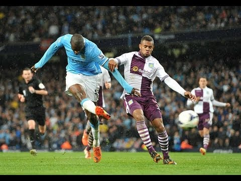 Yaya Toure Amazing Goal Manchester City vs Aston Villa 4-0 HD