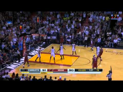 Chris Bosh Three 3's in a Row - HEAT Comeback vs Bobcats