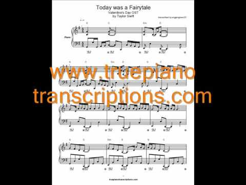 Today was a Fairytale (Piano cover and sheet music transcrip...