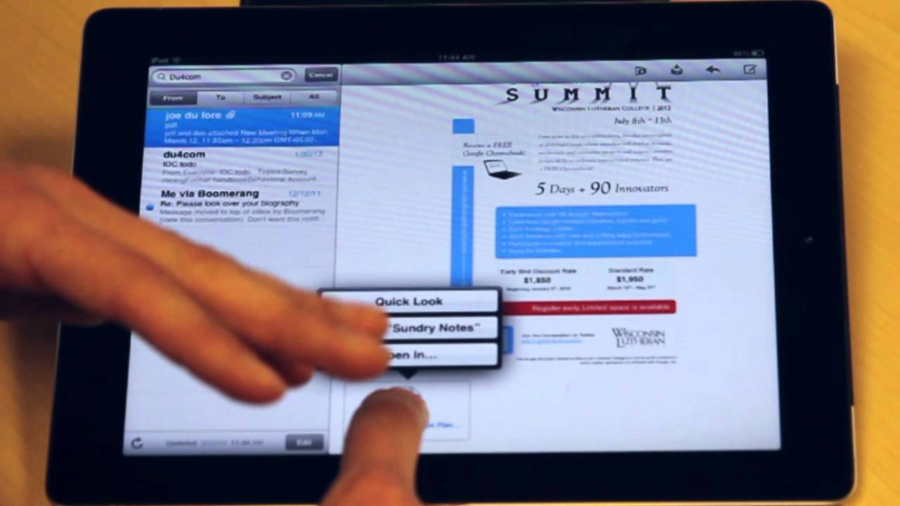 how to delete mail attachments on ipad