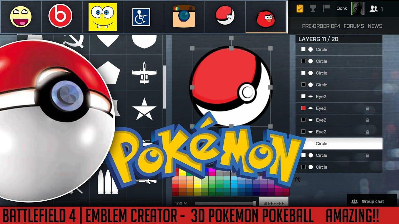 bf4 emblems creator 3d pokeball quot pokemon quot qonkey youtube