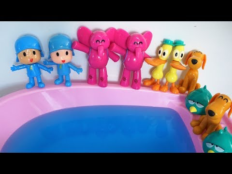 Twin Pocoyo and Friends Jumping on the Pool - Funny Song Compilation