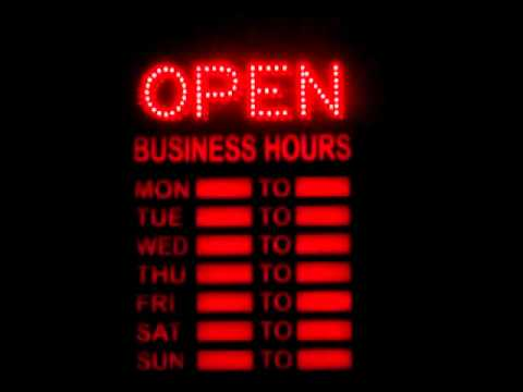 led open closed sign with business hours youtube. Black Bedroom Furniture Sets. Home Design Ideas