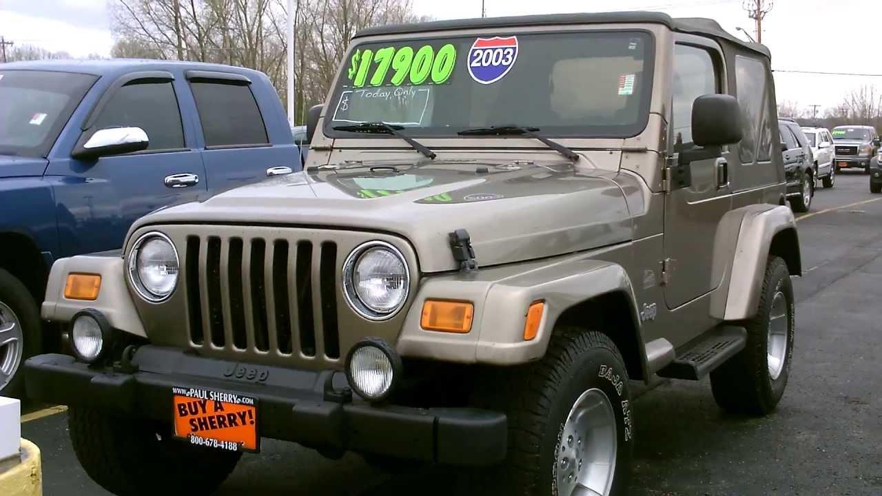 2003 jeep wrangler sahara suv tan for sale dayton troy piqua sidney ohio cp13337t youtube. Black Bedroom Furniture Sets. Home Design Ideas
