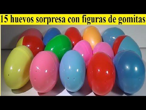 15 huevos sorpresa con figuras de gomitas de manualidadesdeolga. hora de aventuras, frozen....