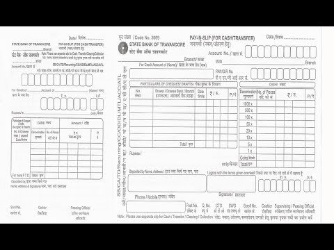 In How To Fill Sbt Bank Deposit Slip For Cheque Or Cash