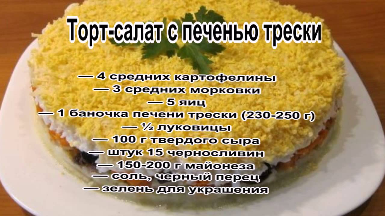 Рецепт салата из печени трески рецепт с очень вкусный