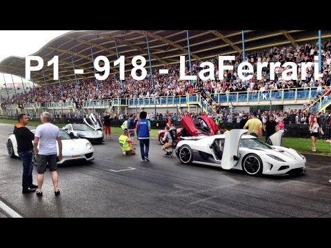 فيديو ماكلارين بي 1 لا فيراري بورش 918 سبايدر وكوينسيج أجيرا آر معا على حلبة سباق