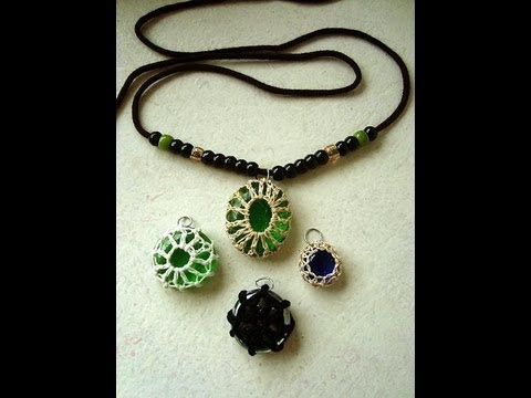 Crochet covered glass bead pendants, crochet jewelry, how to diy, caged beads