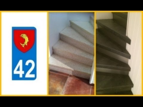 recouvrir marches d 39 escalier loire 42 youtube. Black Bedroom Furniture Sets. Home Design Ideas