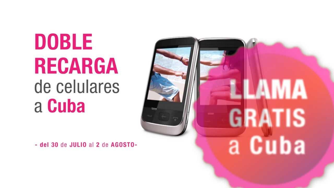 doble recarga de celulares a Cuba del 30 julio al 2 de