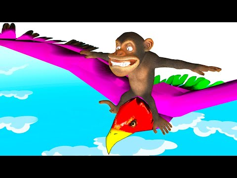 Learn Animals & Colors with Funny Monkey Flying on Big Bird - Surprise Rings, Kids Toys & More