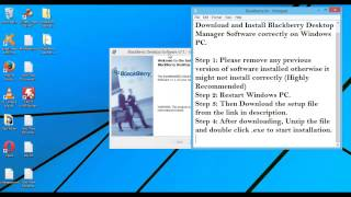 BlackBerry Desktop Manager Download/Install Software