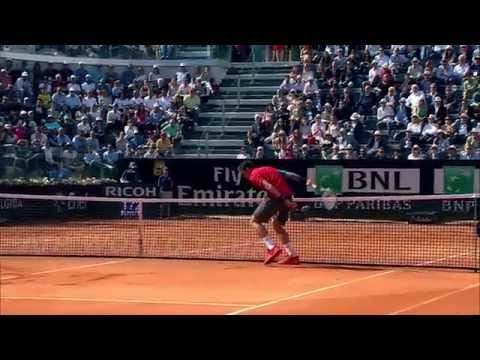 Milos Raonic Ducks For Cover On A Novak Djokovic Smash In Rome 2014