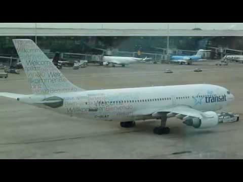 Air Transat Airbus A310 flight TS155 ( C-GLAT : special livery ) push back  @ Brussels airport