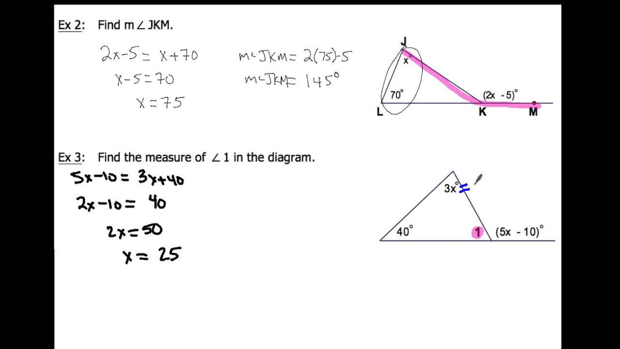 4 1 Apply Triangle Sum Properties Examples 2 4 Youtube