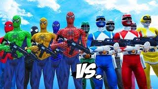 MIGHTY MORPHIN POWER RANGERS VS SPIDER-MAN, BLUE SPIDERMAN, GREEN SPIDERMAN, YELLOW SPIDERMAN