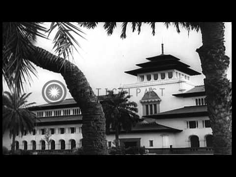 Preparations for the first Asian-African Conference such as renovation of confere...HD Stock Footage