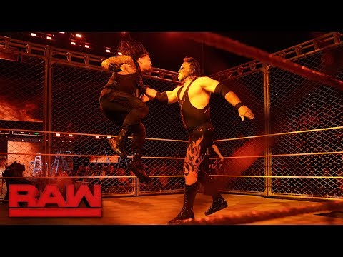 Kane Returns during Roman Reigns vs Braun Strowman  Steel Cage Match Raw Oct 16 2017