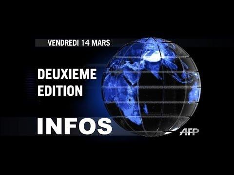 AFP - Le JT, 2e édition du vendredi 14 mars. Durée: 01:46