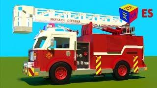 Juego de construcción: un camión de bomberos. Dibujos animados de camiones para niños en español.