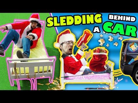 BED SLEDDING BEHIND A CAR + Unlimited POPCORN Life Hack w Nerf Gun FUNnel Vision Donate VlogSkit