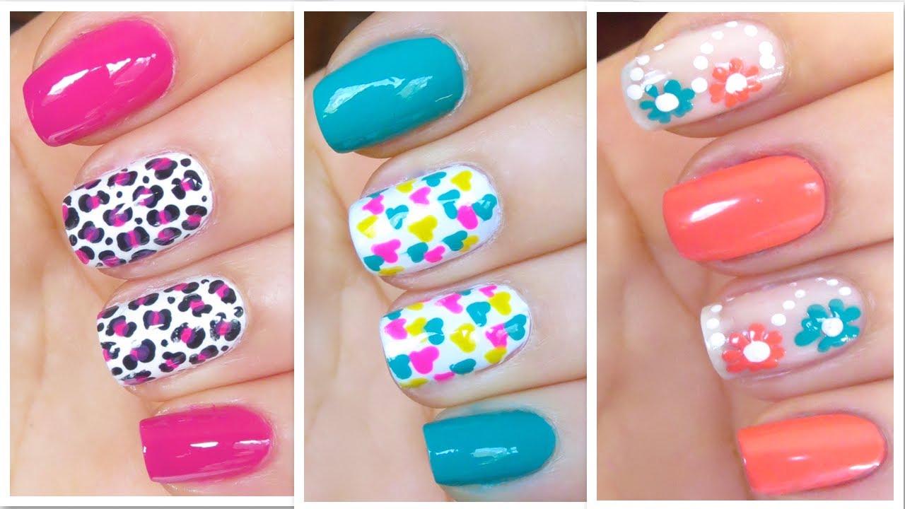 3 cute nail art designs for springsummer 2 youtube