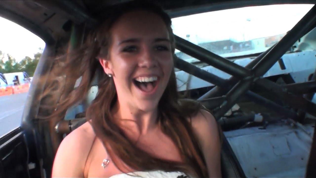 Girls shirt pops open drifting