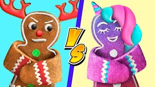 9 Fun Christmas Treat Ideas / Unicorn Christmas Candies vs Reindeer Christmas Candies Challenge!