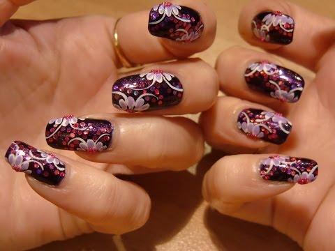 Dark Purple Glitter Nail Art Pink And Purple Video