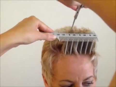 How to Cut Women's Short Hair Layer Haircut - CombPal Scissor Over ...