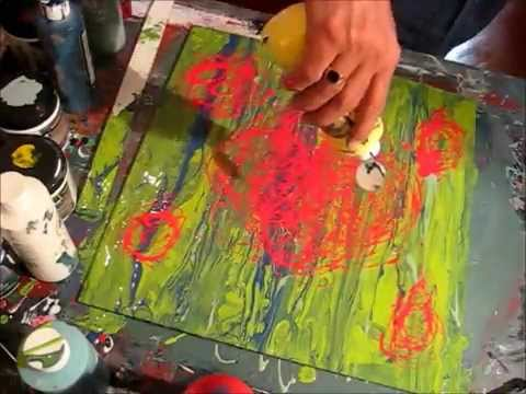 Abstract Art Painting   Acrylic Pouring Techniques 02