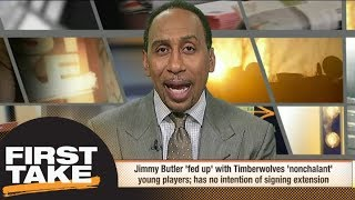 Stephen A. isn't buying Jimmy Butler being 'fed up' with Wolves' young players | First Take | ESPN