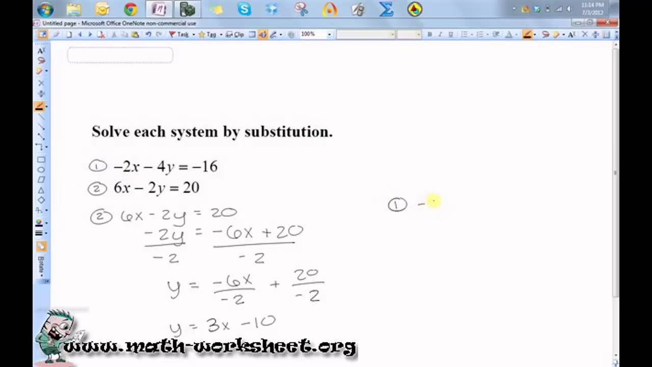Algebra - Systems of Equations and Inequalities - Solving by ...