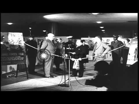 Secretary of Defense Louis Johnson opens an exhibit about African Americans in th...HD Stock Footage