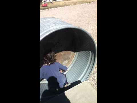 9 Year Old Dare Devil Strikes Back-Kid sized hamster wheel